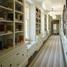bookcase hallway rugs - ined hallway with striped runner by SR Gambrel via Atticmag