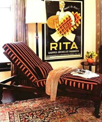 vintage carpets - adjustable striped chaise lounge and oriental rug from Peter Dunham Design - via Atticmag
