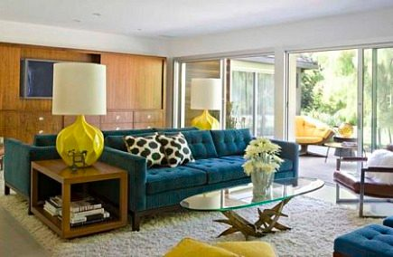 white shag carpets - mid-century inspired living room with white shag rug - via Atticmag