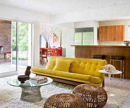 white shag carpets - modern mid-century style living room with white shag rug by Jamie Bush and Co via Atticmag