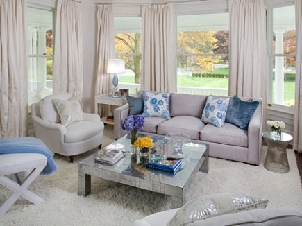 white shag carpets - monochromatic living room with white shag rug by Robyn Karp Interiors via Atticmag