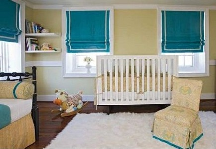 white shag carpets - baby's room with white shag rug by Angie Hranowsky Design via Atticmag