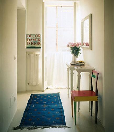 indigo moroccan rugs - blue runner in hallway from Massimo Morozzi via Atticmag