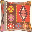kilim rug pillows - pillow made from flat-woven rug remnants -Tribal Home via Atticmag