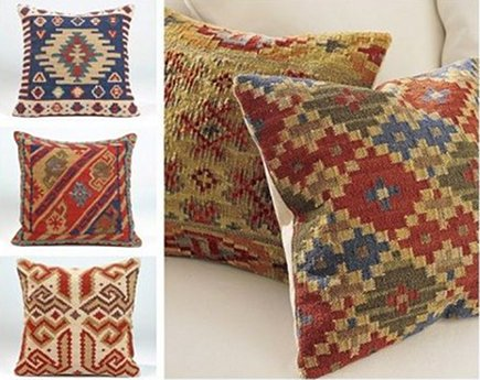 kilim rug pillows - colorful geometric pillow covers made from flat-woven rug remnants - Pottery Barn via Atticmag