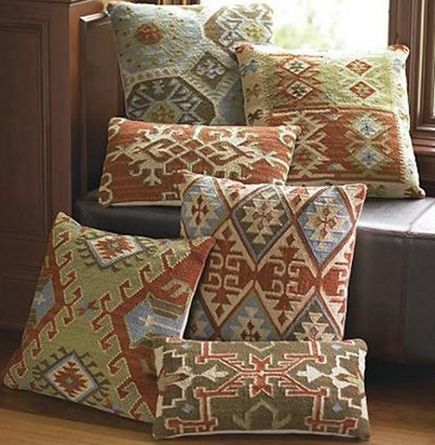 kilim rug pillows - flat and lumbar shape kilim pillow covers made from flat-woven rug remnants - Grand Road via Atticmag