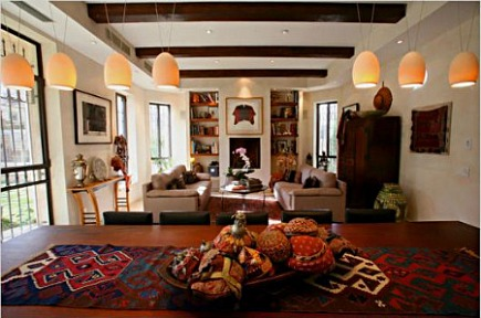 Kilim rugs - kilim used as a table runner - Commune design via Atticmag