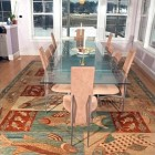 modern rug under glass top dining room table