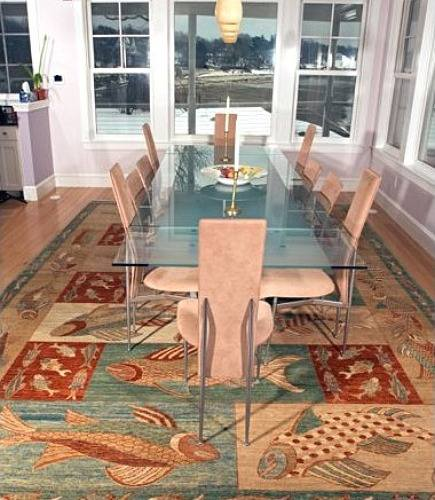 one rug, two room views - view number 2: modern rug under glass top dining room table - Landry and Arcari via Atticmag