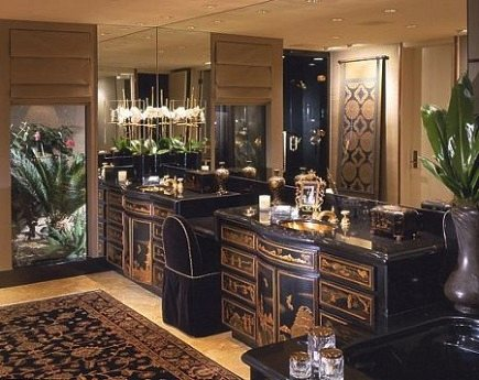 rugs in bathrooms - Asian inspired bathroom with black and gold oriental rug from Donna Livingston via Atticmag