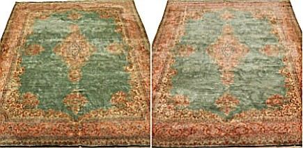 rug color changes - side by side comparison of oriental rug color variations - Aspire Auctions via Atticmag
