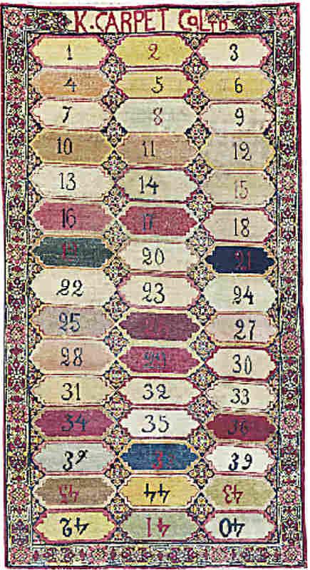 Oriental rug samples - Kazan carpet company antique kirman rug sampler - Christie's via Atticmag
