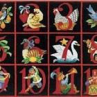 12 days of Christmas rug - hand hooked rug illustrating the Christmas carol - Gump's via Atticmag