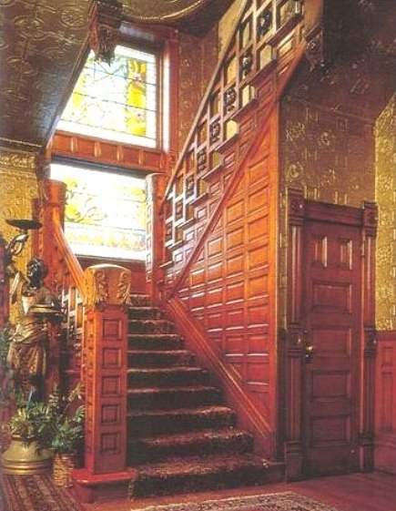 The Molly Brown House Museum stairway with Karastan Multicolor Panel Kirman rug - home textiles today via Atticmag