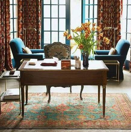 Rugs In Work Spaces   Home Library With Oriental Rug From Home Of Clover  Magazines Chesie