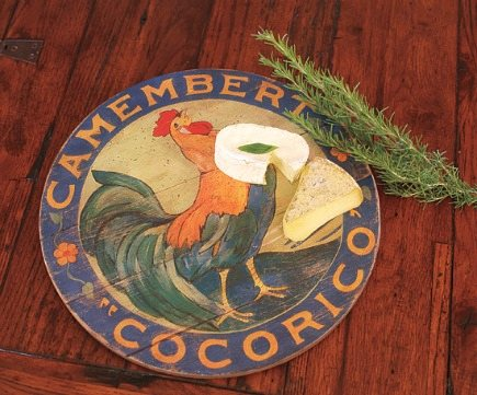 holiday gift ideas - handpainted camembert cheese label lazy susan from Napa Style - via Atticmag