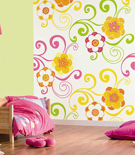 children's wallpaper - flower digital wall art covering by nono via Atticmag