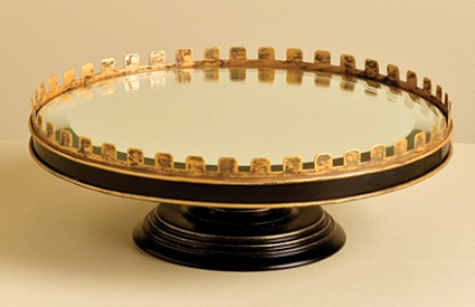 black with gold accents mirrored serving cake stand - Nell Hills via Atticmag