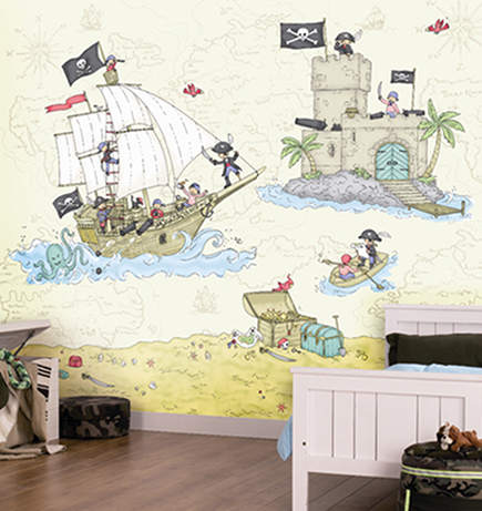childrens wallpaper - pirate digital wall art covering by nono via Atticmag