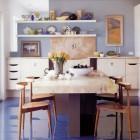 blue floor - epoxy paint floor in a loft kitchen adds vivid color - Met Home via Atticmag
