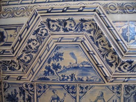 Delft tile detail from Czar's palace in St. Petersburg - it.stlawu.edu via Atticmag