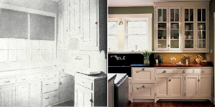 kitchens 1920-2010 - 1920s kitchen sink wall compared to 2010 style - via Atticmag