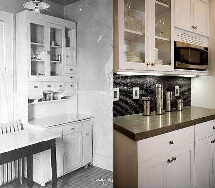 kitchens 1920-2010 - 1920s kitchen hutch compared to 2010 style - via Atticmag