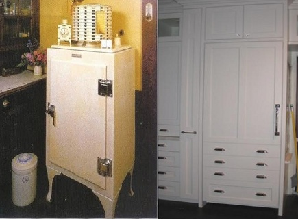 kitchens 1920-2010 - 1927 refrigerator compared to 2010 style paneled built in fridge - via Atticmag