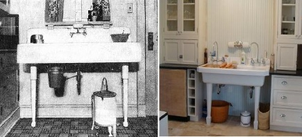 kitchens 1920-2010 - 1920s console fireclay sink compared to 2010 style - via Atticmag