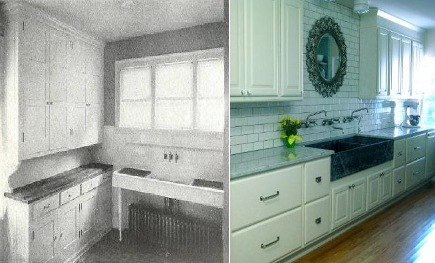 kitchens 1920-2010 - 1920s scullery sink compared to 2010 style - via Atticmag