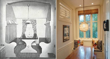 kitchens 1920-2010 - 1920s breakfast nook compared to 2009 style - via Atticmag