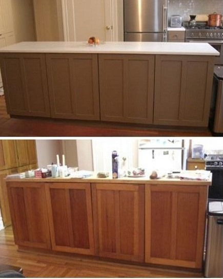 kitchen upgrates - island repainted with Farrow & Ball Dauphin (top) and unpainted natural fir island (bottom) - Atticmag