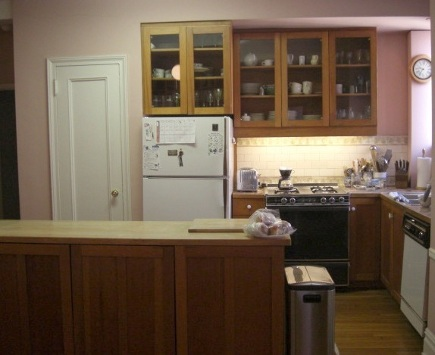 kitchen upgrades' - the pink apartment kitchen with wood-tone cabinets and old fridge before renovation - Atticmag