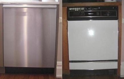 kitchen upgrades - new Miele Optima dishwasher (left) and old GE Potscrubber dishwasher (right) - Atticmag