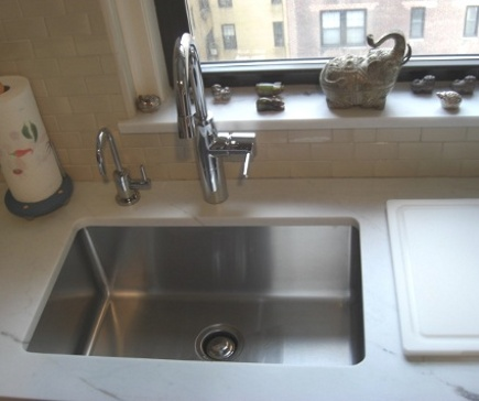 kitchen upgrades - Julien 3211 single bowl, 16 gauge undermount stainless sink with KWC Systema faucet and and compatible filtered water faucet - Atticmag