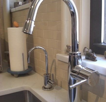 KWC Systema chrome pulldown faucet and Newport Brass cold water tap faucet