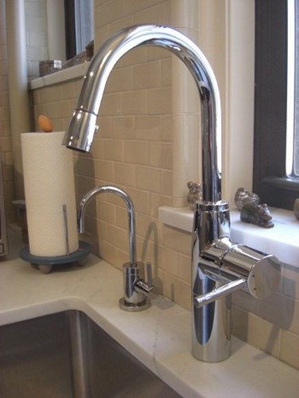 kitchen upgrades - KWC Systema chrome pulldown faucet and Newport Brass cold filtered water tap faucet - Atticmag