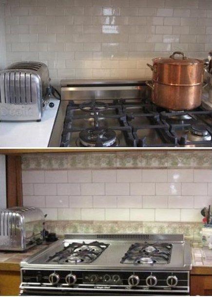 kitchen upgrades - new Ann Sacks taupe tile backsplash (top) and old vintage tile backsplash (bottom) - Atticmag