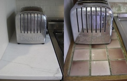 kitchen upgrades- new marble counter and old tile counter - atticmag