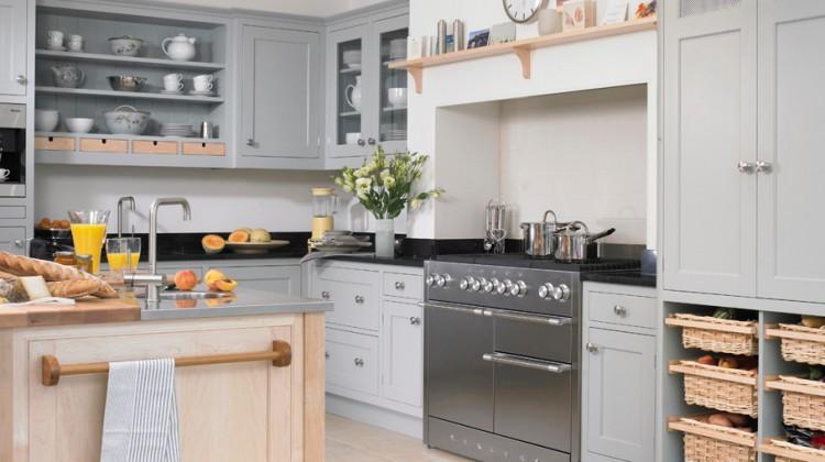 soft gray Newcastle kitchen with Mercury range - via Atticmag