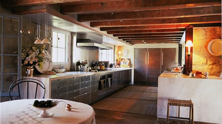 stone kitchen - John Saladino restored stone kitchen with stainless steel cabinets - Saladino Style via Atticmag