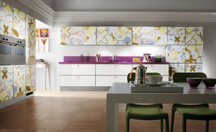 kitchen cabinet features - fabric pattern kitchen cabinets by Scavolini via Atticmag