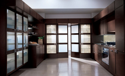 kitchen cabinet features - scavolini glass-door cabinets - scavolini via Atticmag