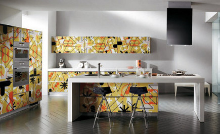 kitchen cabinet features - scavolini cabinets with graphic designs - Scavolini via Atticmag