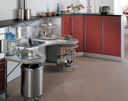 kitchen cabinet features - curved snaidero pod peninsula - Snaidero via Atticmag