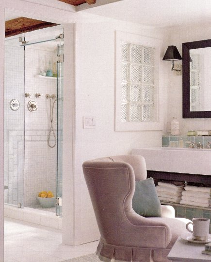 view of the steam shower in adjacent area adjacent to combined master bedroom-bathroom - Kitchen and Bath Ideas via Atticmag