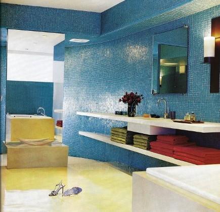 bathroom color - ocean blue glass mosaic tile bathroom with cream epoxy floor - Town & Country via Atticmag