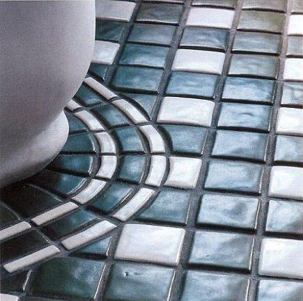 tile masterpiece bathroom - floor detail of Pewabic tile bathroom installation designed by Jed Johnson - WOI via Atticmag