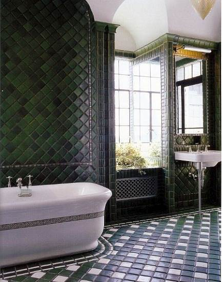 tile masterpiece bathroom - NYC penthouse bahtroom with floor and walls of Pewabic tile designed by Jed Johnson - WOI via Atticmag