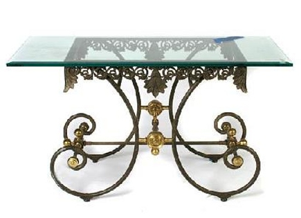 metal base table - Scrolling brass-leg French bistro table